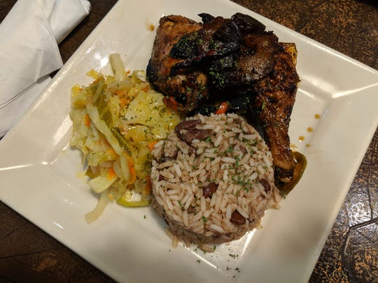 Calypso chicken with rice and beans and soca groovy sauteed veggies at Fazmoz.