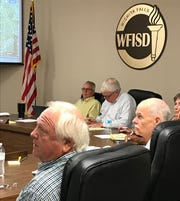 Wichita Falls ISD trustees listen to a presentation from Superintendent Michael Kuhrt during a recent work session at the Education Center. Trustees plan to meet Sept. 30 to set a property tax rate and adopt a 2019-20 budget.
