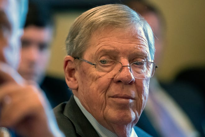 In this Feb. 14, 2019 photo, Sen. Johnny Isakson, R-Ga., leads a meeting on Capitol Hill in Washington.