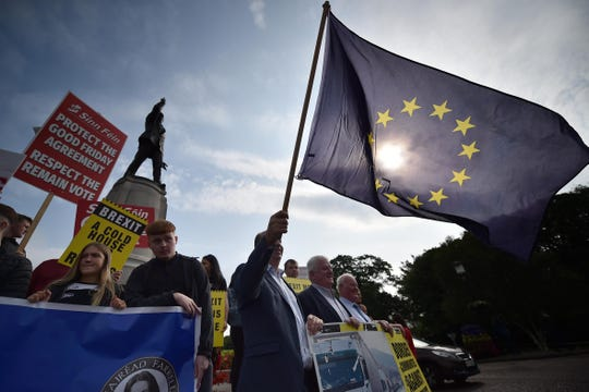 An anti-Brexit protest takes place in Belfast, Northern Ireland, last month.