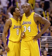 Kobe Bryant and Shaquille O'Neal won three titles in a row together with the Lakers.