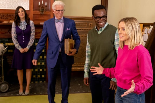 "D'Arcy Carden, Ted Danson, William Jackson Harper and Kristen Bell in ""The Good Place"" (NBC, four seasons)"