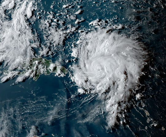 This satellite image shows Hurricane Dorian as it approaches Puerto Rico. Florida Governor Ron DeSantis declared a state of emergency Wednesday for counties in the path of destruction as Dorian is expected to gain strength and grow from a Category 1 to a Category 3 hurricane.