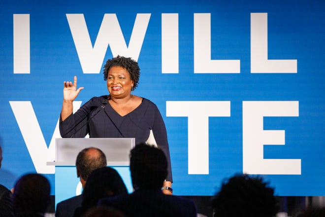 ATLANTA, GA - JUNE 06: Former minority leader of the Georgia House of Representatives Stacey Abrams speaks to a crowd at a Democratic National Committee event at Flourish in Atlanta on June 6, 2019 in Atlanta, Georgia. The DNC held a gala to raise money for the DNCs IWillVote program, which is aimed at registering voters. (Photo by Dustin Chambers/Getty Images) ORG XMIT: 775352259 ORIG FILE ID: 1148439144