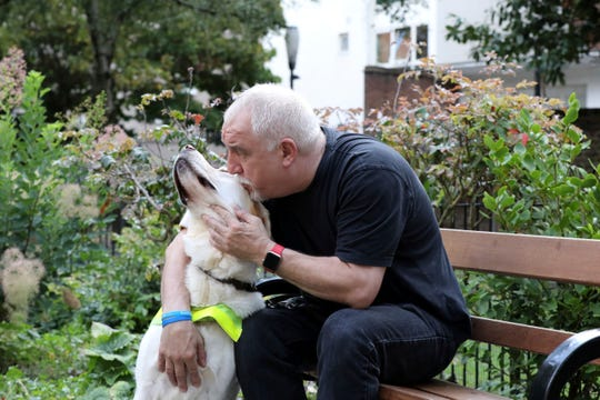 """""""You can't just suddenly go to those countries and rent a guide dog,"""" says Dave Kent, who relies on his service dog, Chad."""