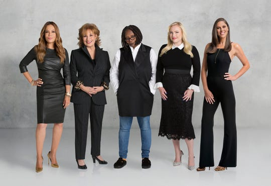 "The current co-hosts of ""The View"": Sunny Hostin, far left, Joy Behar, Whoopi Goldberg, Meghan McCain and Abby Huntsman"