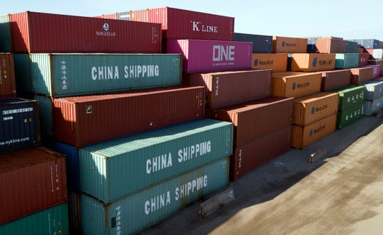 China Shipping Co. containers at a terminal in Portsmouth, Virginia, on May 10, 2019.