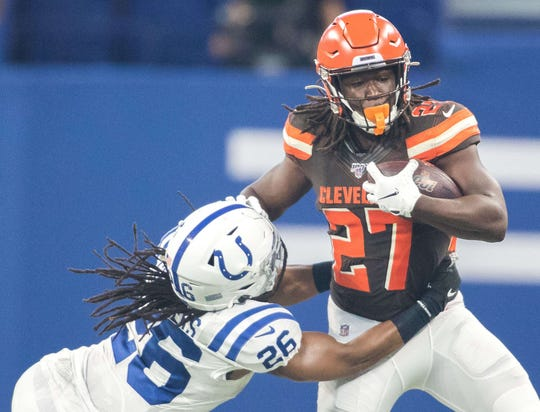Kareem Hunt has seven carries for 17 yards in limited playing time this preseason.