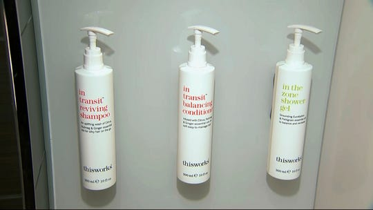 This image made from video shows bottles of shampoo, conditioner and shower gel that will replace smaller bottles of them by 2021, filmed at Marriott's headquarters in Bethesda, Md., Tuesday, Aug. 27, 2019.