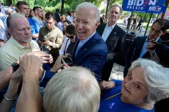 Democratic presidential candidate and former Vice President Joe Biden greets supporters during a campaign event at Keene State College in Keene N.H., on Saturday, Aug. 24, 2019.