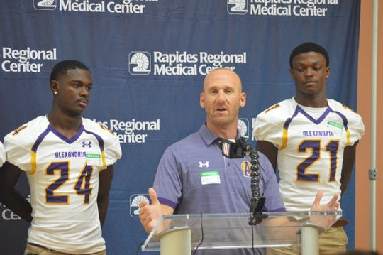 ASH coach Thomas Bachman (center) speaks to the media during Wednesday's press conference promoting the Rapides Orthopedic & Sports Medicine Clinic Cenla Jamboree at Rapides Women's and Children's Hospital.