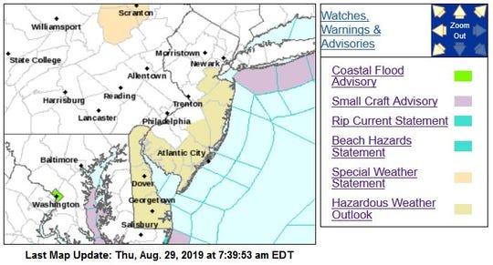 The Jersey Shore was under a hazardous weather outlook Thursday.