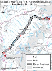 Due to hazardous conditions in the Nantahala Gorge from multiple landslides, the U.S. Forest Service issued an Emergency Closure Order prohibiting access to the Nantahala River for National Forest land between Beechertown Launch Ramp and the Silvermine Take-out Ramp.
