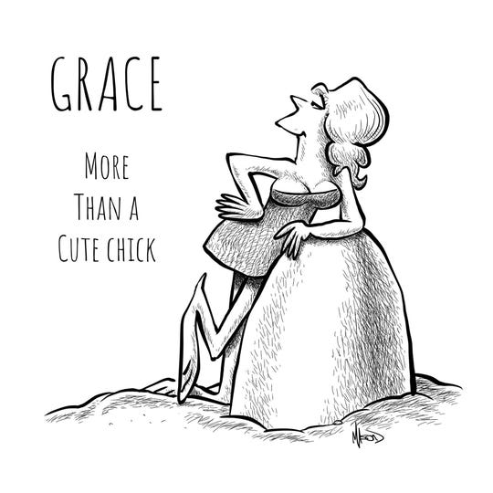 "Grace, formerly the ""Cute Chick"" in the B.C. comic strip."