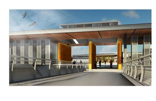 A conceptual design of the connection from the Marion Street Bridge, looking west through the entry building to the new WSF terminal building.