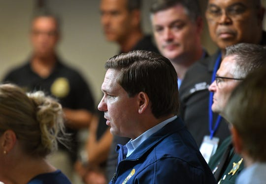 Florida Gov. Ron DeSantis speaks at the Brevard County Emergency Operations Center in Rockledge on Thursday as Hurricane Dorian approaches the state.