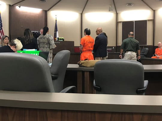 Joseph Tejeda, who is accused of killing 21-year-old Breanna Wood, stands before Judge Jack Pulcher during a status hearing on Aug. 29, 2019.
