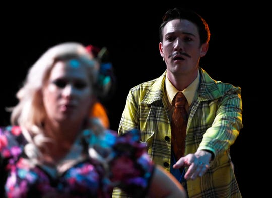Peter Howard, right, performs as Mr. Wormwood in Matilda the Musical, as seen here Wednesday, Aug. 28, 2019, during a tech rehearsal. The musical is based off the book and 1996 film.
