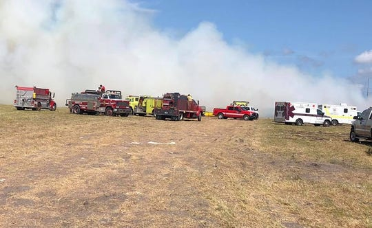 Hundreds of cotton bales were on fire near Taft on Thursday, Aug. 29, 2019. The owner of the cotton bales had some of their cotton slashed open last week.