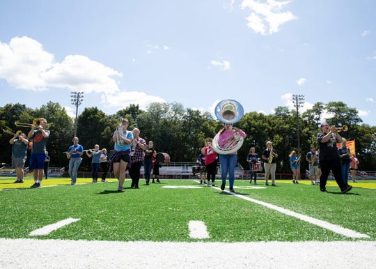 The Zane Trace Marching Band practices its radioactive routine on Thursday, the day before the first Zane Trace football game of the season. The Zane Trace football team starts its season away at Logan Elm  but will return home to battle against Waverly on Sept. 6.