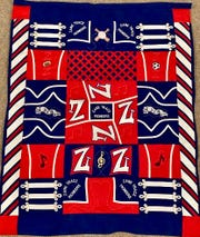 An example of one of the items made from past uniforms up for raffle to support the Zane Trace Marching Band.