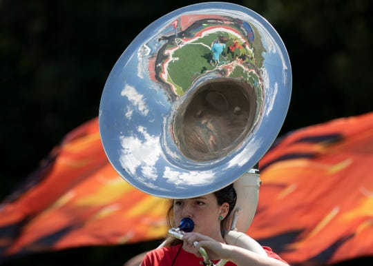 Patty Shanton plays the tuba as the Zane Trace Marching band practices the week of the school's first game.