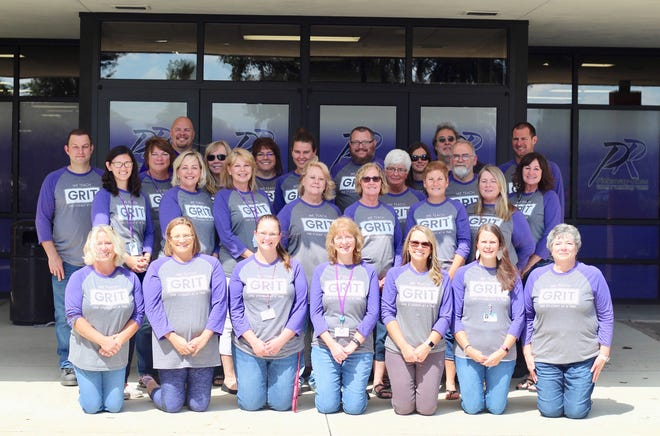 Staff at Pickaway-Ross Career and Technology Center wear their GRIT T-shirts to remind students of the new program the school has implemented.