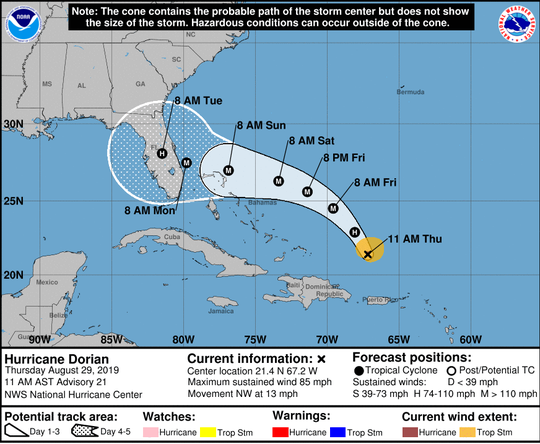 Coastal watches, warnings and forecast cone for Hurricane Dorian