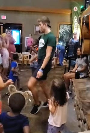 """Brandon Fries dances to """"Crazy in Love"""" by Beyonce at A Great Wolf Lodge in Sandusky, Ohio."""