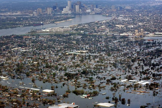 Floodwaters from Hurricane Katrina cover a portion of New Orleans on Aug. 30, 2005.