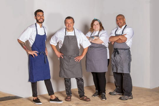 The Ardor team left to right: Julian Ortiz, Executive Sous Chef, Klaus Kronsteiner, Executive Chef, Alexa Clark, Executive Pastry Chef, and Jon Hung, Chef de Cuisine.