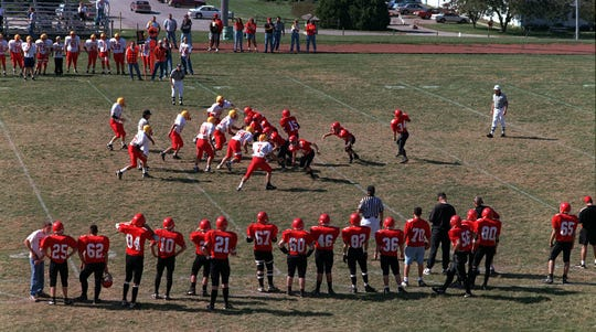 Exira High School's 8-man football team, the Vikings, take on Sentral-Fenton Spartans during their home game on Saturday, Oct.10, 1998 in Exira.