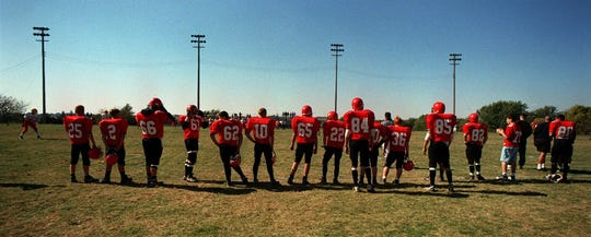 Exira High School's football team, called the Vikings, are members of the 8-Man football team league. Here they host the Sentral-Fenton Spartans on Saturday, Oct.10,1998.