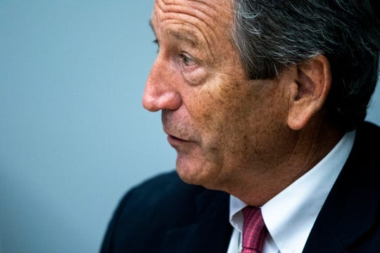 Mark Sanford, former governor of South Carolina, gives an interview to the Des Moines Register on Thursday, Aug. 29, 2019, at the Register's office in Des Moines.
