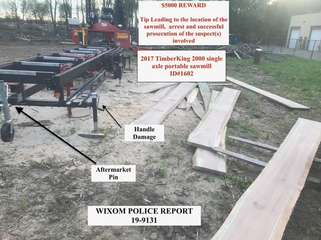 A handout photo from the Wixom Police Department showing the sawmill stolen.