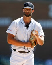 Tigers pitcher Daniel Norris prepares to pitch during the first inning of the Tigers' 2-0 loss on Thursday, August 29, 2019, at Comerica Park.