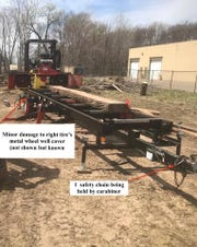 A handout photo from the Wixom Police Department showing the stolen sawmill.
