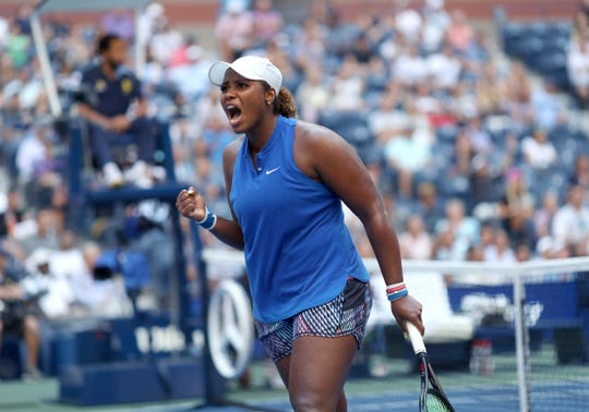 Taylor Townsend reacts after scoring a point against Simona Halep during the second round of the U.S. Open on Thursday.
