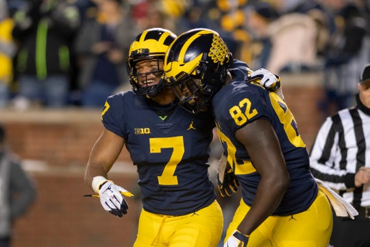 Michigan wide receiver Tarik Black, left, and tight end Nick Eubanks will be part of a new-look offense this season.