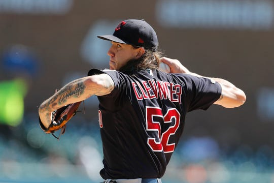 Indians starting pitcher Mike Clevinger struck out 10 Thursday against the Tigers.