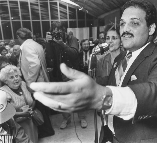 Dearborn Mayor Michael Guido addresses his campaign workers in 1985.