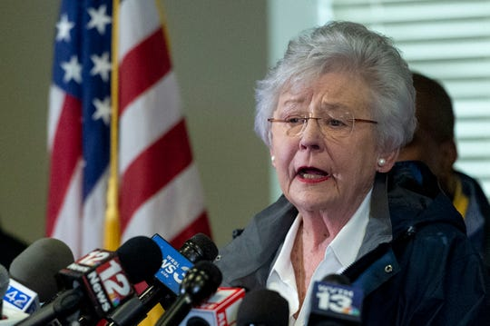 "FILE - In this March 4, 2019 file photo Alabama Gov. Kay Ivey speaks at a news conference in Beauregard, Ala. Alabama Gov. Kay Ivey is apologizing after a radio interview described her wearing blackface during a college skit in the 1960s. Ivey issued a statement Thursday, Aug. 29, 2019 saying that she does not remember the sketch or ever wearing blackface but wanted to ""offer my heartfelt apologies for the pain and embarrassment this causes."""