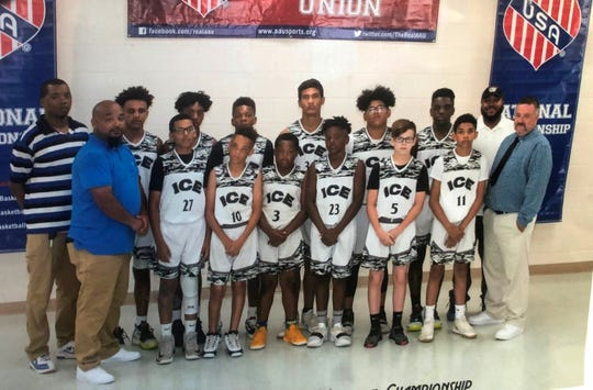 Elmira Ice 12-under players pose for a photo at the AAU East Coast Nationals in Hampton, Virginia. Front, from left: coach Steve Daniels, James Harris III, Jhamicque Bell, Daeshaun Harris, Julian Colon, Brandon Bertelsen, Byron Hall Jr., head coach Jose Lopez. Back: coach James Harris Jr., Isaiah Henderson, Mekai Daniels, Cameron Smith, Anthony Kitching, Chris Woodard Jr., Amir Williams, coach Jordan Harris.