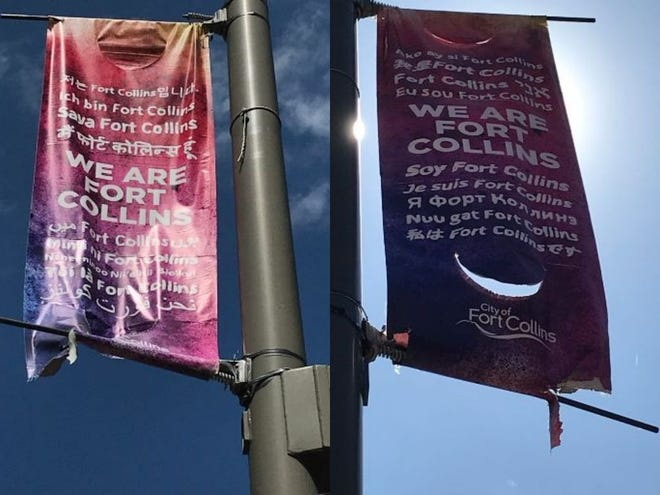 "Both sides of ""We are Fort Collins"" banners feature the words ""I am Fort Collins"" in different languages."