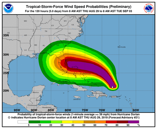 Hurricane Dorian approaches the east coast of Florida.