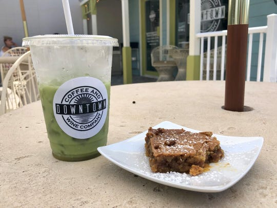 A matcha latte and a perfect salty-sweet baked treat from Downtown Coffee & Wine Co. in Bonita Springs.