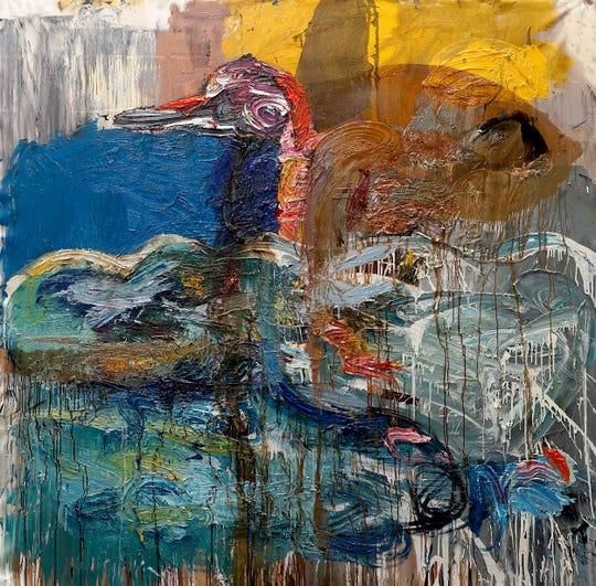 """Reynier Ferrer's """"Monster"""" is part of the """"Motus in Tempus"""" art exhibit featuring the work of four Cuban-American painters."""