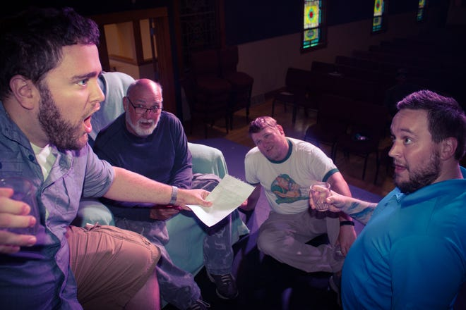 """The Soady clan spins a humorous tale about deer camp in the Abrams Spotlight Productions Inc. production of """"Escanaba in da Moonlight."""" Shown rehearsing for the show are, from left: Bobby Buffington, Jim Klein, Will Church and Tyler Otto."""
