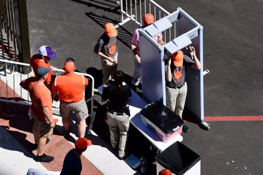 Metal detectors are set up near entrances around Clemson Memorial Stadium before the season-opening game against Georgia Tech on Thursday.