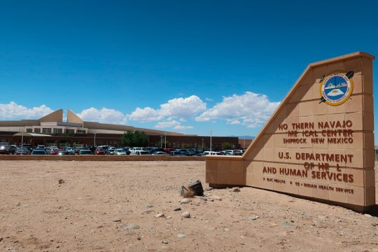 This Aug. 12, 2019 photo shows the Northern Navajo Medical Center in Shiprock, New Mexico. A federal audit released in July 2019 found the hospital was one of a handful run by the Indian Health Service that put Native American patients at increased risk for opioid abuse and overdoses. (AP Photo/Felicia Fonseca)
